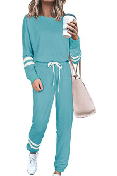 Tracksuit Long Sleeve Loose Women Blouse Drawstring Long Pants Striped Tracksuit for Spring Sport Matching Sets Casual Female Ou