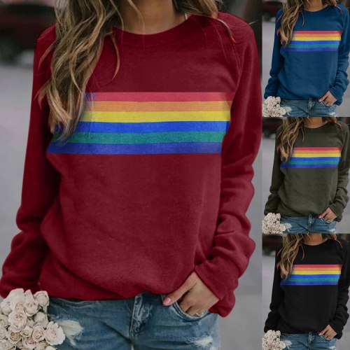 Stripe Women Sweatshirt Rainbow Printed Long Sleeve Round Neck Casual Loose Top Female Loose Ladies Clothes Felpe Donna Pullover