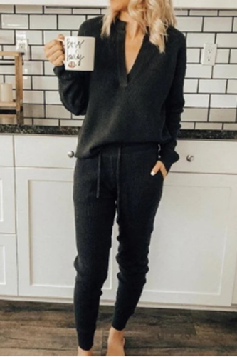 Women Fashion V-neck Solid Homewear Suits 2021 Spring Long Sleeve Tops Pullover and Pocket Set Autumn Two Piece Sets For Pajamas