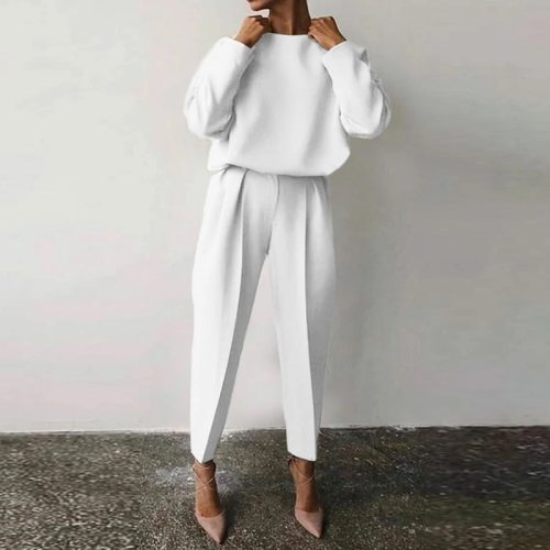 Office Lady Fahsion Elegant Commuter Set 2021 Spring Casual Round Neck Long Sleeve Tops And Long Pants 2 Piece Suit Loose Outfit