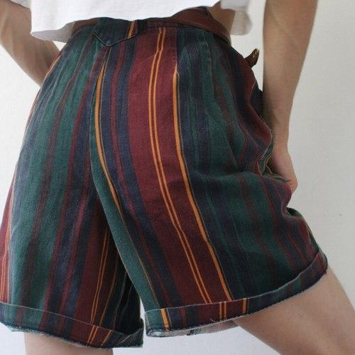 Summer New Fashion Women Striped Plaid Print Curly Short Pants Casual Buttons Streetwear Cool Girl Elegant Sweet Shorts(no belt)