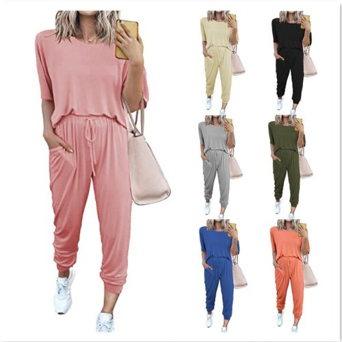 Solid Pajama Sets Long Sleeve t Shirt Elastic Waist Casual Pants Women Tracksuit Loose Pyjamas Women Pijama Mujer Homewear
