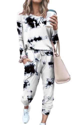 2Pcs Loungewear Women Pajama Set Tie Dye Jogger Suit Long Sleeve Round Neck Pants Sleepwear Loungewear Pyjamas Women HomeWear
