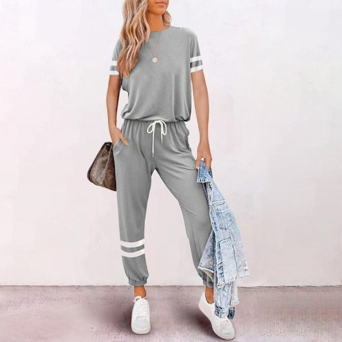 Muyogrt Solid Color 2 Piece Set Women Tracksuit Crop Top Outfit Joggers Sweat Suits Women Workout Set 2021 Summer Lounge Wear
