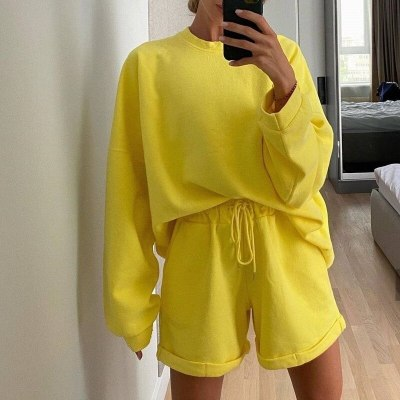 Women's Clothing Fashion Casual Suit Long-sleeved O-Neck Two-piece Women Top Loose Shorts Ladies Sweater