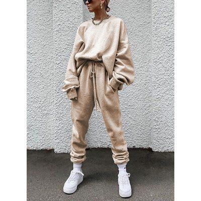 Women's Two Piece Set Women Trouser Suits Outfit Pant + Sweatshirt Sportwear Tracksuit Female Sports Suit 2021 Hoodie