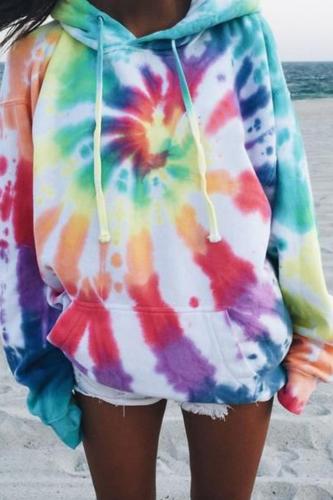 Tie Dye Hoodie Women Sweatshirts for Girls Spring Fall Loose Long Sleeve Pullovers Tops Streetwear Female Plus Size Tops