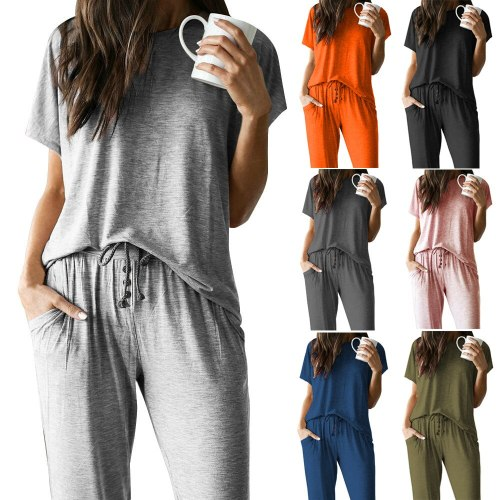 2021 Spring And Summer New Suit Round Neck Solid Color Short-sleeved T-shirt Trousers Female Plus Size Pullover Casual Suit