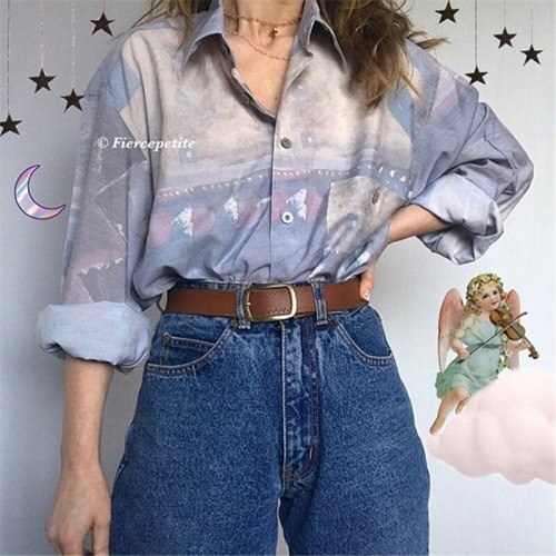 Vintage Print Blouse Single-breasted Turn Down Collar Elegant Lady Office Streetwear Plus Size Women Clothing Long Sleeve Tops