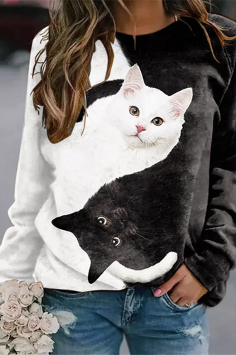 Casual Sweatshirts Women Cat Printed Crew Neck Long Sleeve Hoodies Pullover Loose Spring Plus Size Clothes