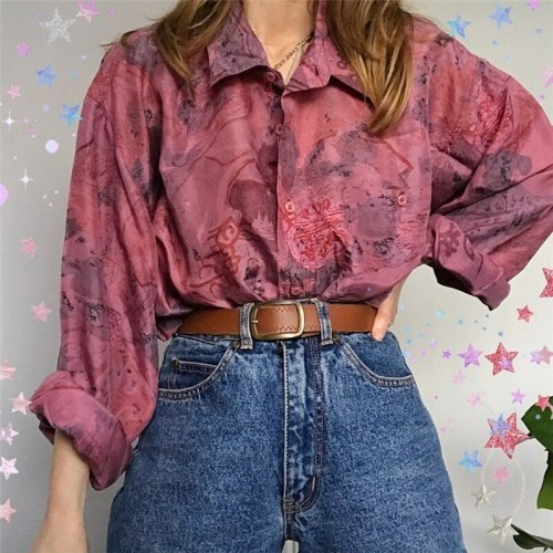 Red Print Single-breasted Turn-down Collar Blouse Women Vintage Long Sleeve Fashion Tops 2021 Spring Autumn Plus Size Clothing