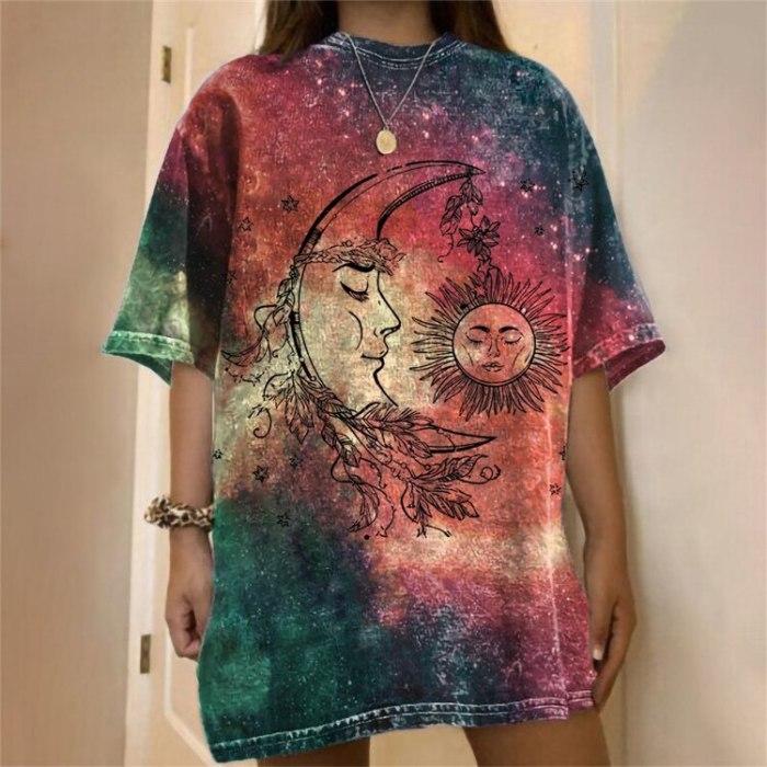 Short Sleeve Graphic Tee Tie Dye Moon Sun Print Shirts Woman Summer Cute Oversized Harajuku Casual Loose T-shirt Fashion Top New