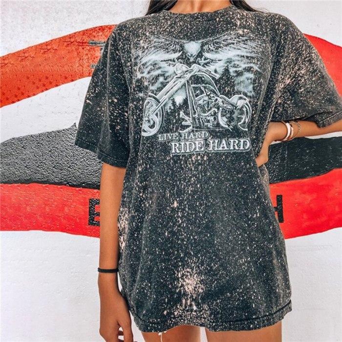 Vintage Harajuku Streetwear Letter Print Graphic T-shirt Women Oversized Summer O Neck Short Sleeve Loose Female Casual Tshirts