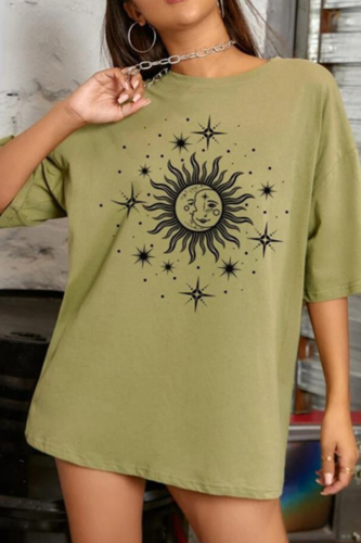 Sun Face Print Graphic T Shirts Women Vintage Casual Streetwear Oversized Crop Top Loose Short Sleeve Summer New Fashion Clothes