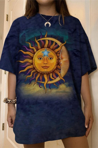 Sun Moon Face Print Graphic Tee Women Vintage Oversized Harajuku Short Sleeve Casual Streetwear Loose Fashion Tops 2021 Summer