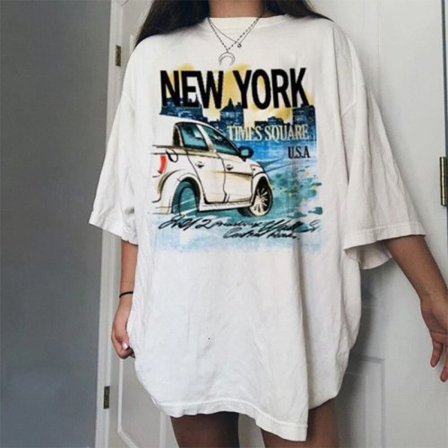 White Letter Car Print Graphic Tee Women Oversized Loose Casual Streetwear O Neck Short Sleeve Fashion Tops Summer England Style