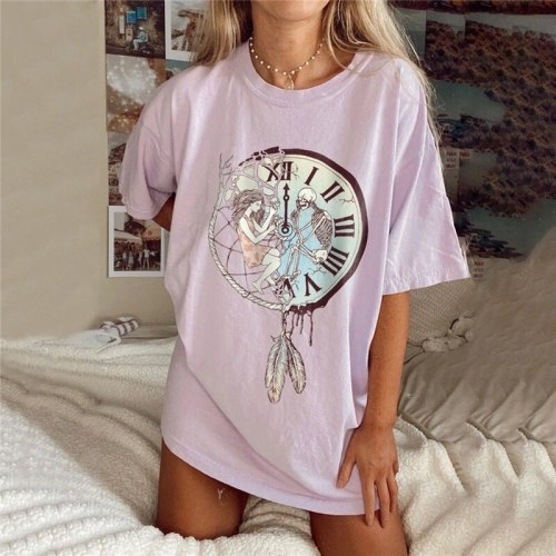 Pink Print Graphic T Shirts for Women Oversized Loose Casual Tee Sweet Kawaii Clothes Short Sleeve Fashion Tops 2021 Summer New