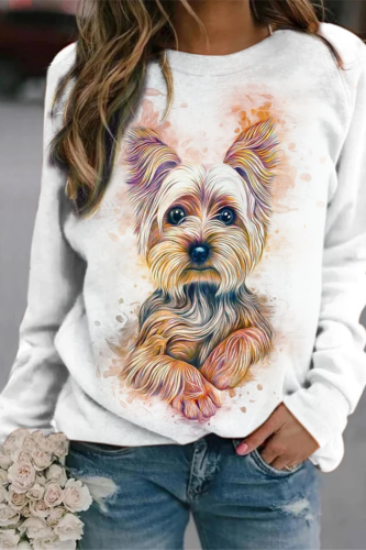 White Dog Print Oversized Crewneck Sweatshirt Women Casual Pullover Vintage Slim Long Sleeve 2021 Spring Fall Thin Fashion Tops