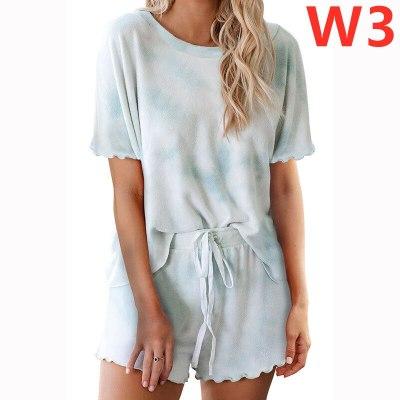 Womens Tie-dye Pajamas Set Short Sleeve Tops Shorts Loungewear Sets Plus Size S-3XL Sleepwear Loungewear Nightwear Sleepwear