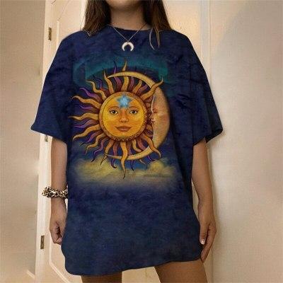 Sun Moon Face Print Graphic Tee Women Vintage Oversized Harajuku Short Sleeve Casual Streetwear Loose Fashion Tops 2021 Summer