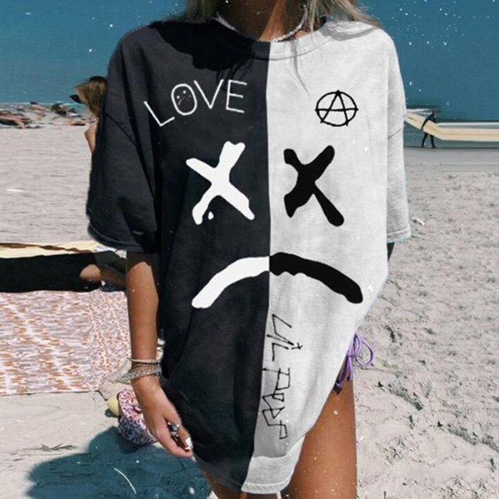 Vintage Black White Stitching Letter Print Graphic Tee Women O Neck Short Sleeve Fashion Tops Oversized Loose Streetwear Summer