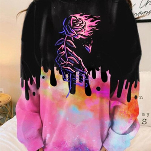 Oversized Streetwear Print Sweatshirts Vintage Loose Casual O Neck Long Sleeve 2021 Spring Fall Women Fashion Clothes USA Style