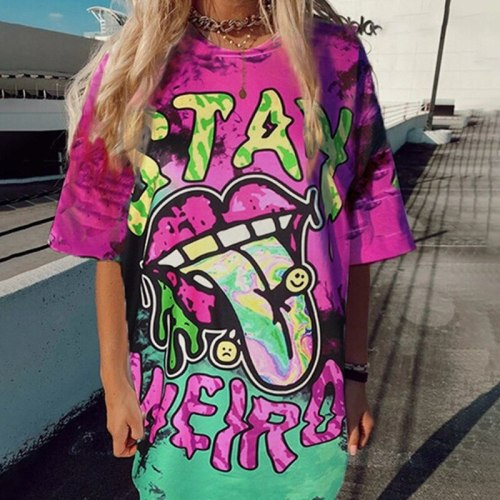 Vintage Harajuku Casual Streetwear Tie Dye Letter Print Graphic T Shirts Oversized Loose Short Sleeve O Neck Fashion Tops Summer
