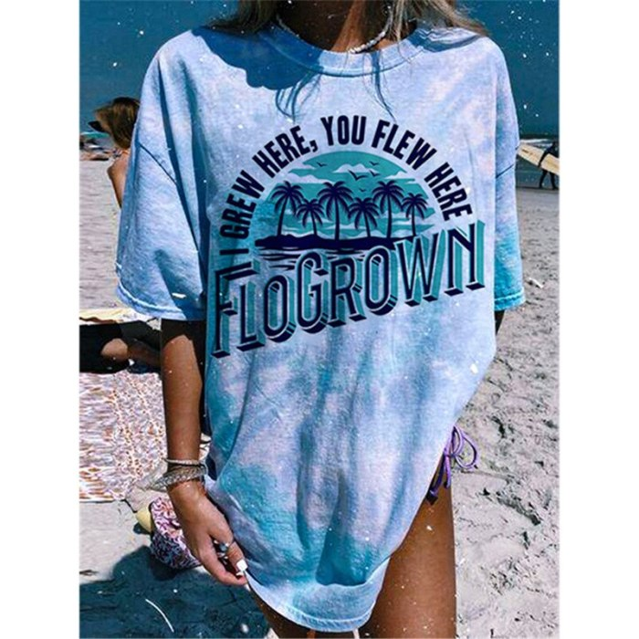 Blue Letter Print Graphic Tee Women Oversized Harajuku Loose T-shirt Fashion Top New 2021 Summer Short Sleeve Casual Streetwear