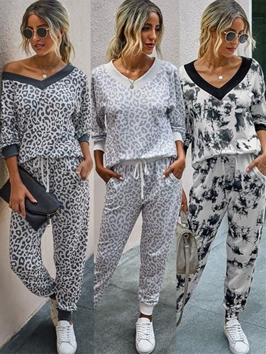 Autumn Winter Women Sets Fashion Leopard Home Wear Sports Casual V-neck Loose Top Long Sleeve Trousers 2-piece Set Leisure Suit