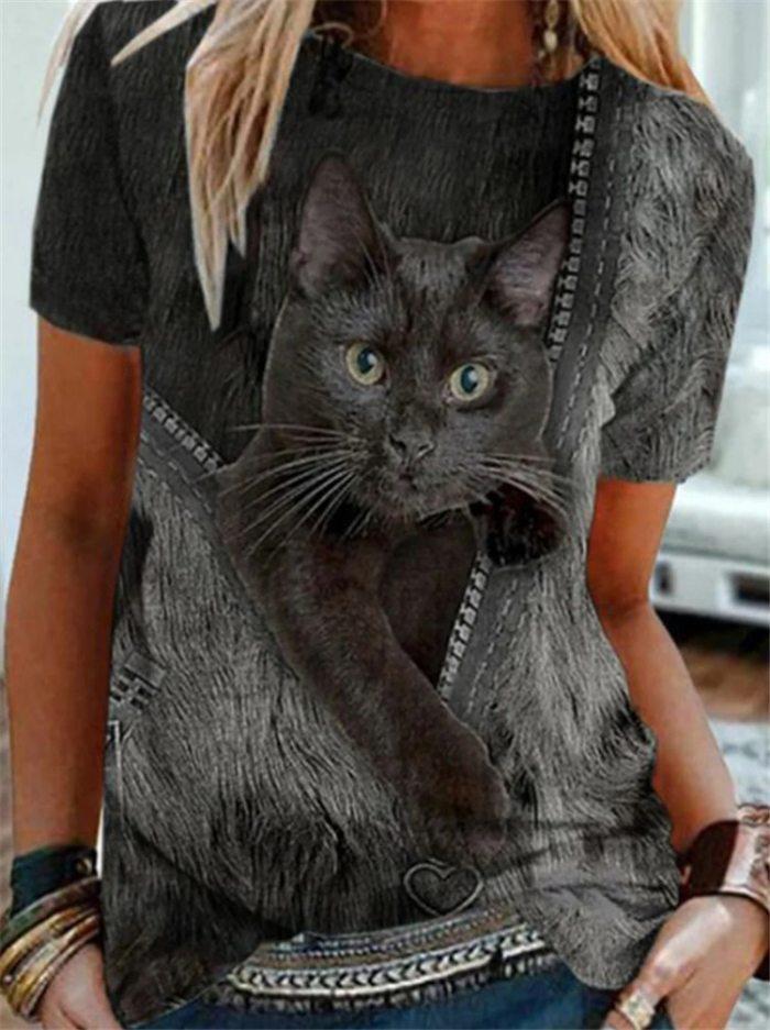 Graphic Tee T Shirt for Women Cute Cat Pattern Short Sleeve Streetwear Women Top Striped Printing Harajuku Kawaii T Shirt