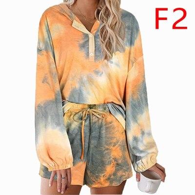 Lugentolo Women Sleep Pajama Sets Hooded Tie-Dye New Comfortable Breathable Long Sleeve Casual Tops Shorts Female Loose Sets