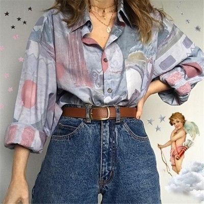 Vintage Long Sleeve Chiffon Blouse Women Single Breasted Turn-down Collar Elegant Lady New Fashion Tops Plus Size Clothing 2021