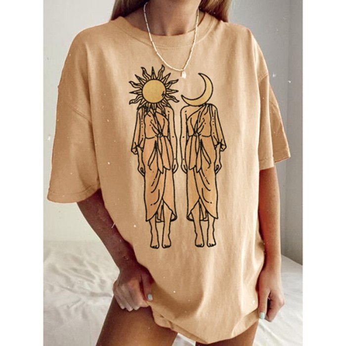 Vintage Casual Streetwear Print Graphic T Shirts Women Oversized Crop Tops Loose Short Sleeve 2021 Summer New Fashion Clothes