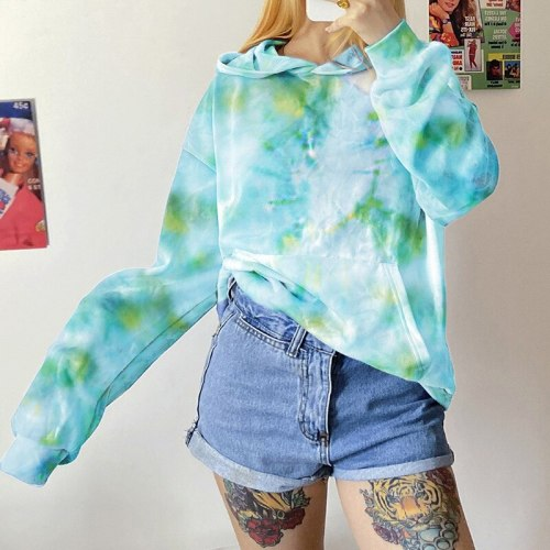 Women Long Sleeve Tie-dye Print Hoodie Tops Fashion Long Sleeve Loose Pullovers with Pocket Autumn Spring Ladies Shirts S-3XL