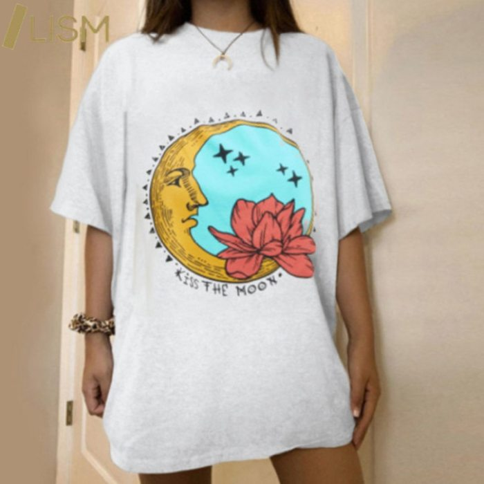 Harajuku Graphic T Shirts Summer Y2k T-shirt Pink Blue Letter Printing Women Car Moon Pattern Short Sleeve Tee-Shirts Female Top