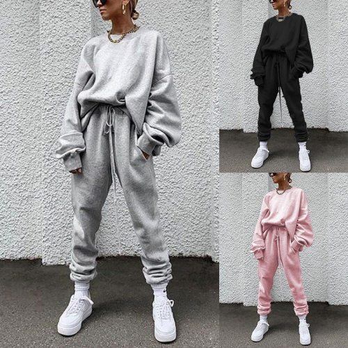 Women's Two Piece Set Women Trouser Suits Outfit Pant + Sweatshirt Sportwear Tracksuit Female Sports Suit 2021 Hoodie