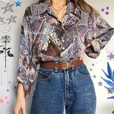 Single Breasted Turn-down Collar Elegant Lady Plus Size Clothing Vintage Long Sleeve Chiffon Blouse Women New Fashion Tops 2021