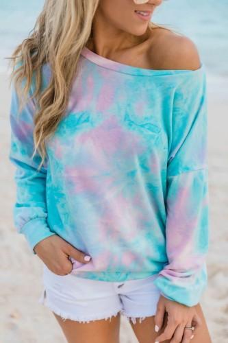 #H40 Tie Dye Print Autumn T Shirt Women Casual Loose Tshirts Women Long Sleeve Pullover Tops For Women T-Shirt Female Clothing