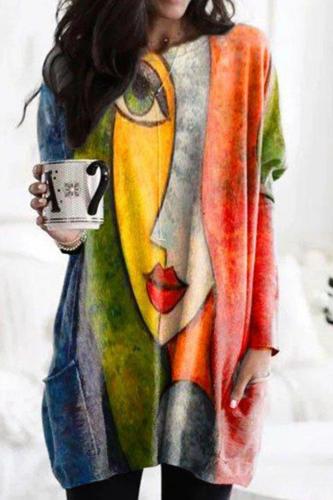 Vintage Abstract Printed Shirt Women Long Sleeve Face Print T Shirt Tops Elegant O Neck Pockets Irregular Tee Shirt Oversize