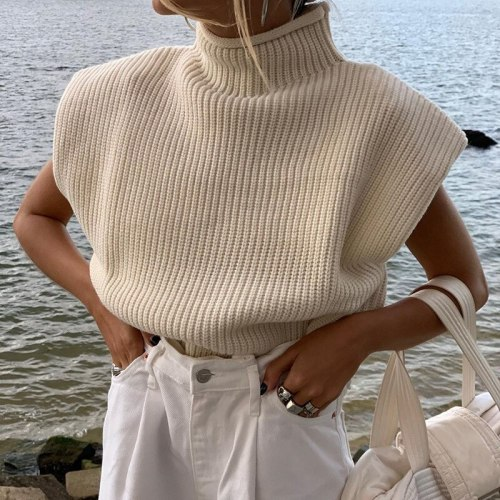 Turtleneck Sleeveless Vest Sweater Women Autumn Winter Shoulder Pads Knitted Pullover Sweater Autumn Winter Jumper Casual Tops
