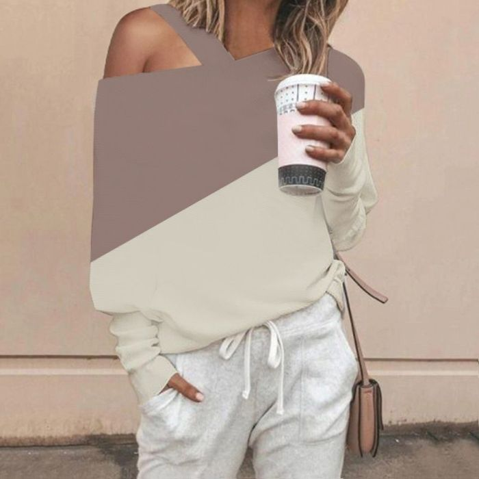 Hot Autumn Women\'s Stitching Off-shoulder Long Sleeves Loose Sexy Casual All-match Color High Quality