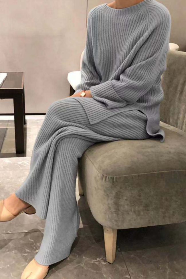 Autumn Winter Solid Lady Home Suit Fashion Soft Women Two Piece Set Casual O-Neck Pullover Tops + Knitted Pants Homewear Pajama