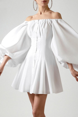 Sexy off shoulder dress women Solid white slash neck button slim A-Line dresses long puff sleeve Elegant Beach Holiday dress