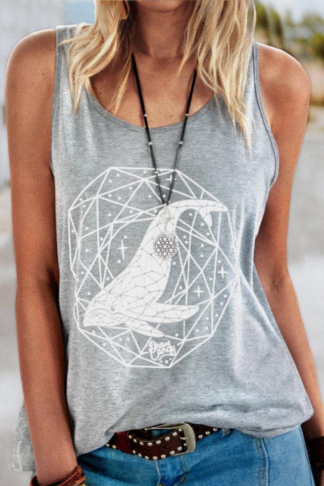 2021 Hot Summer New Fashion Animal Print Loose Vest o-Neck Sleeveless Vest T-Shirt Women's Wear S-3XL