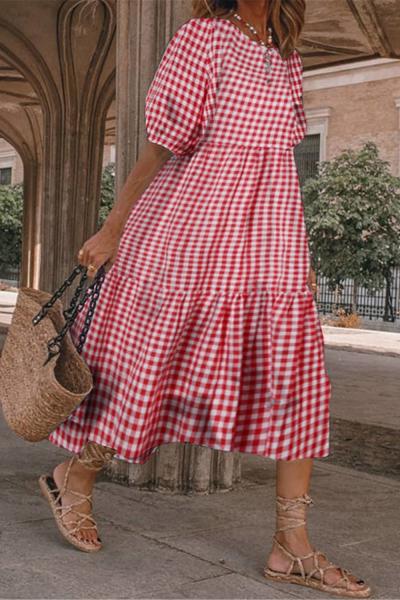 Plaid Printed Women Dress Puff Sleeve Summer Dress Vintage Loose Splicing Dress Bohemia Loose Pleated Dresses For Women 2021
