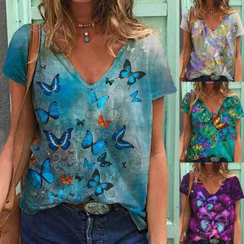 Women's Summer Fashion Butterfly Printed Short Sleeve  V NeckT Shirt Cotton Plus Size Tops XS-5XS