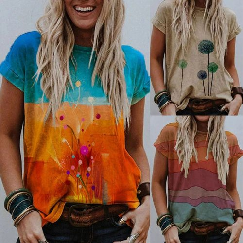 Women's Summer Fashion Printed Short Sleeved Round Neck T Shirt Casual Loose Plus Size Ladies Tops S-5XL