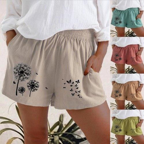 Fashion Shorts Women Plus Size Loose Elastic Waist Summer 2021 Dandelion Print Casual Shorts Cotton Linen Women Shorts Mujer