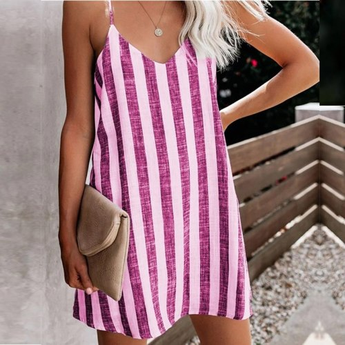 Women's Striped Dresses Summer Boho Mini Dress 2021 Sundress Plus Size Sexy Deep V-Neck Strapless Backless Tie Dresses Vestidos