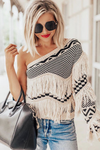 Women Fringed Knitted Sweater Autumn Sexy One Shoulder Striped Plaid Tassel Knitted Female Jumper Vintage Sweater Pullovers Tops